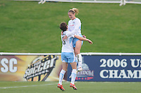 Chicago Red Stars midfielder Lindsey Tarpley (5) celebrates with team mate Megan Rapinoe (8) her score in the 26th minute of the game.   Washington Freedom tied Chicago Red Stars 1-1  at The Maryland SoccerPlex, Saturday April 11, 2009.