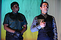 London, UK. 07.10.2015. MEASURE FOR MEASURE, by William Shakespeare, directed by Joe Hill-Gibbins, opens at the Young Vic theatre. Picture shows: Hammed Animashaun (Provost), Paul Ready (Angelo). Photograph © Jane Hobson.