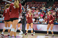 STANFORD, CA - September 9, 2018: Jenna Gray, Kate Formico, Holly Campbell, Meghan McClure at Maples Pavilion. The Stanford Cardinal defeated #1 ranked Minnesota 3-1 in the Big Ten / PAC-12 Challenge.