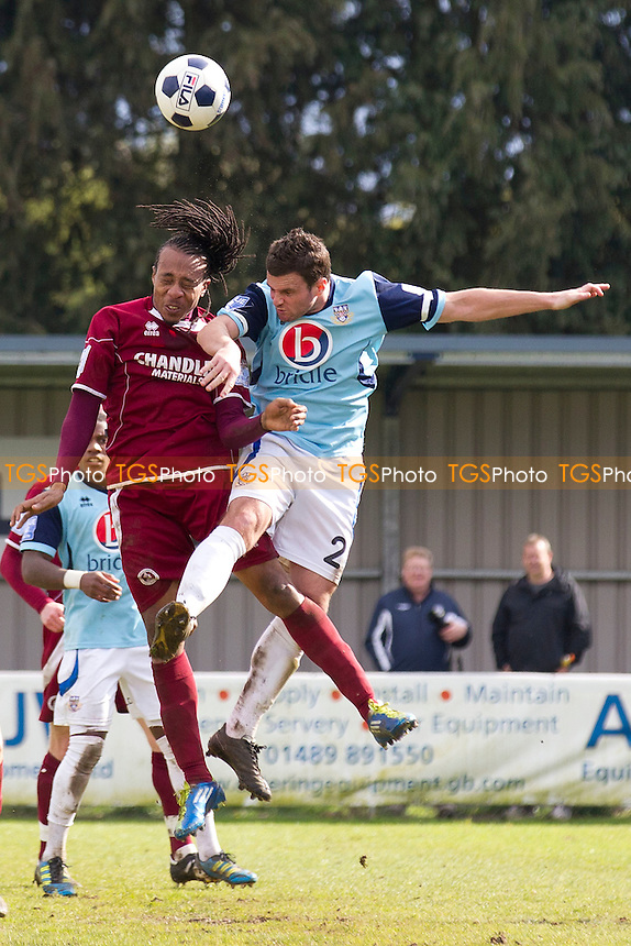 Ricky Modeste of Chelmsford City and Andy Forbes of Eastleigh challenge for aerial ball - Eastleigh vs Chelmsford City - Blue Square Conference South Football at the Silverlake Stadium - 21/04/12 - MANDATORY CREDIT: Ray Lawrence/TGSPHOTO - Self billing applies where appropriate - 0845 094 6026 - contact@tgsphoto.co.uk - NO UNPAID USE.