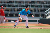 Miami Marlins first baseman Evan Edwards (28) during an Instructional League game against the Washington Nationals on September 25, 2019 at Roger Dean Chevrolet Stadium in Jupiter, Florida.  (Mike Janes/Four Seam Images)