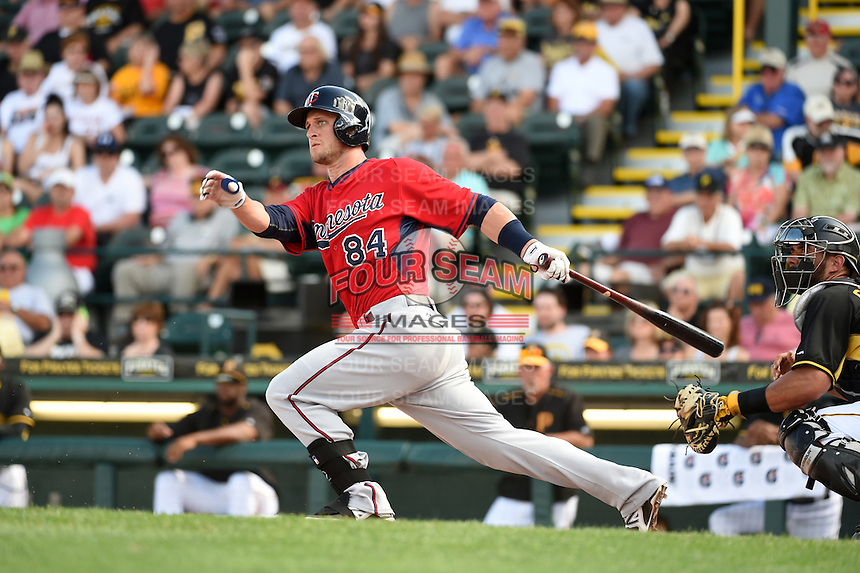 Minnesota Twins catcher Dan Rohlfing (84) during a Spring Training game against the Pittsburgh Pirates on March 13, 2015 at McKechnie Field in Bradenton, Florida.  Minnesota defeated Pittsburgh 8-3.  (Mike Janes/Four Seam Images)