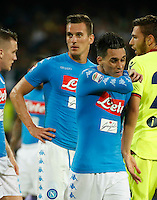 Jose Callejon  and Arkadiusz Milik   during the  italian serie a soccer match,between SSC Napoli and   Bologna FC    at  the San  Paolo   stadium in Naples  Italy , September 18, 2016