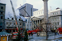 CA 1984  File Photo - Montreal (Qc) Canada -  Montreal firemen at work in OLd Montreal PLace jacques cartier.