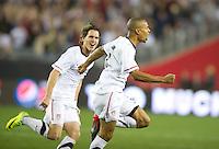 Phoenix, AZ - Saturday, January 21, 2012: Ricardo Clark celebrates his goal as the USA Men's national team defeats Venezuela 1-0, at the University of Phoenix Stadium.