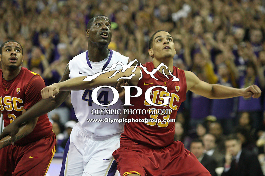 Mar 05, 2011:  Washington's #44 Darnell Gant and USC's #33 Garrett Jackson battle for position under the basket.  USC defeated Washington 62-60 at Alaska Airlines Arena Seattle, Washington.