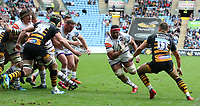 Leicester Tigers' Sione Kalamafoni powers past Wasps' Josh Bassett to score his side's third try <br /> <br /> Photographer Stephen White/CameraSport<br /> <br /> Gallagher Premiership - Wasps v Leicester Tigers - Sunday 16th September 2018 - Ricoh Arena - Coventry<br /> <br /> World Copyright &copy; 2018 CameraSport. All rights reserved. 43 Linden Ave. Countesthorpe. Leicester. England. LE8 5PG - Tel: +44 (0) 116 277 4147 - admin@camerasport.com - www.camerasport.com