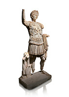 Roman statue of Emperor Trajan. Marble. Perge. 2nd century AD. Inv no . Antalya Archaeology Museum; Turkey. Against a white background.<br /> Trajan Roma Emperor  from 98 to 117 AD.