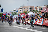 Dutch Champion Fabio Jakobsen (NED/Deceuninck - QuickStep) wins the stage 4 bunch sprint ahead of Sam Bennett (IRL/Bora-Hansgrohe)<br /> <br /> Stage 4: Cullera to El Puig (175km)<br /> La Vuelta 2019<br /> <br /> ©kramon