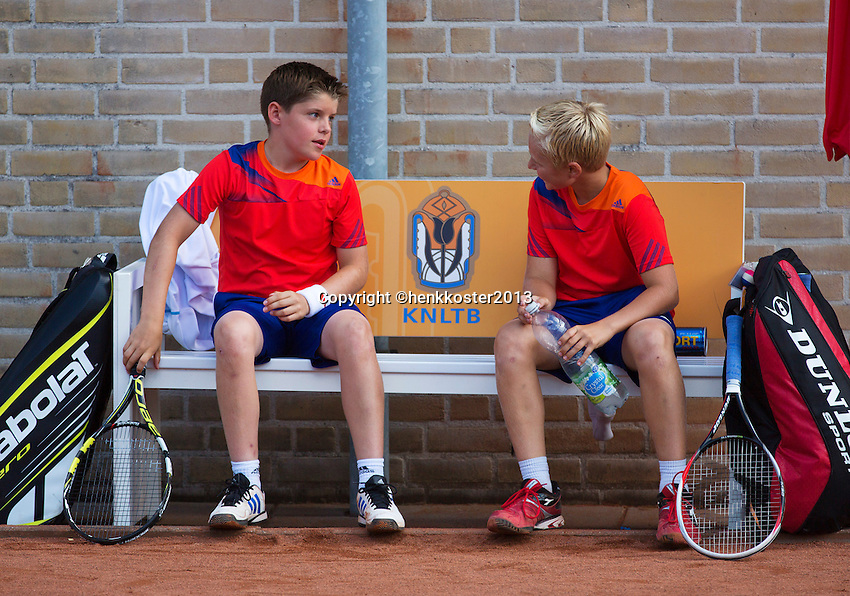 08-08-13, Netherlands, Rotterdam,  TV Victoria, Tennis, NJK 2013, National Junior Tennis Championships 2013,  Doubles,  Daan Hendriks/Jens Hoogendam boys doubles<br /> <br /> <br /> Photo: Henk Koster