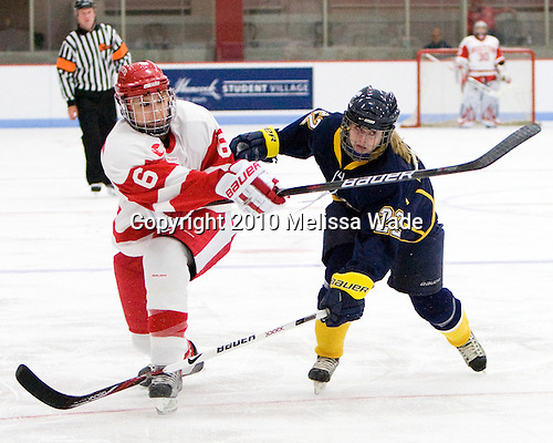 Carly Warren (BU - 6), Laurel Ansell (Windsor - 22) - The Boston University Terriers defeated the visiting University of Windsor Lancers 4-1 in a Saturday afternoon, September 25, 2010, exhibition game at Walter Brown Arena in Boston, MA.