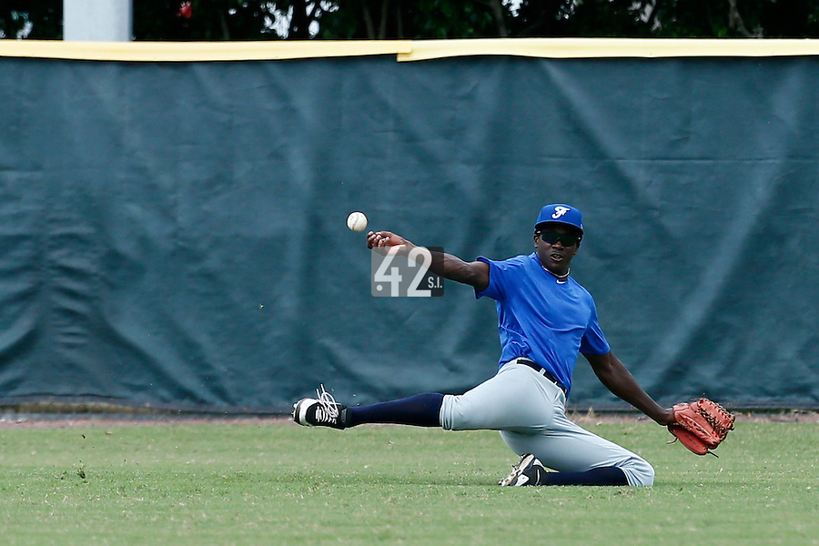 19 September 2012: Frederic Hanvi fails to catch the ball during Team France friendly game won 6-3 against Palm Beach State College, during the 2012 World Baseball Classic Qualifier round, in Lake Worth, Florida, USA.