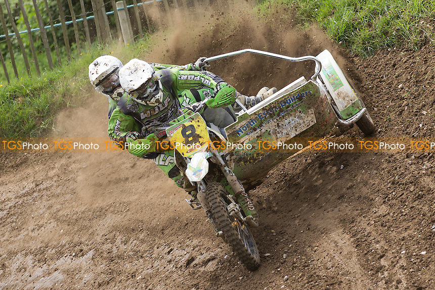 David Keane and Paul Horton in action during ACU British Sidecar Cross Championship Round Three at Wattisfield Hall MX Track on 22nd May 2016