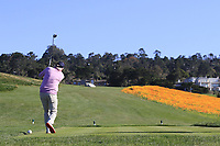 Dermot Desmond (IRL) tees off the 8th tee during Sunday's Final Round of the 2018 AT&amp;T Pebble Beach Pro-Am, held on Pebble Beach Golf Course, Monterey,  California, USA. 11th February 2018.<br /> Picture: Eoin Clarke | Golffile<br /> <br /> <br /> All photos usage must carry mandatory copyright credit (&copy; Golffile | Eoin Clarke)