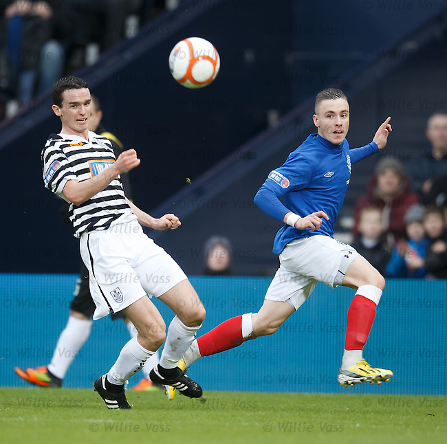 Barrie McKay crosses on the run and the ball falls at the feet of Jig who just fails to tap it away