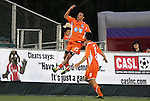 14 April 2012: Carolina's Nick Zimmerman (23) celebrates his first half goal with Jason Garey (9). The Carolina RailHawks played the Atlanta Silverbacks to a 4-4 tie at WakeMed Soccer Stadium in Cary, NC in a 2012 North American Soccer League (NASL) regular season game.