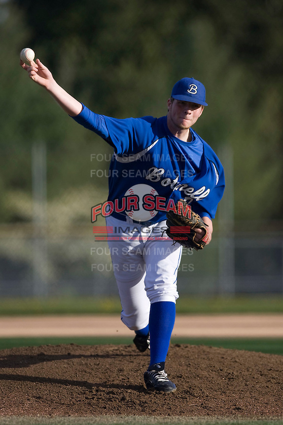 April 8, 2010: Bothell High School pitcher Evan Hudson toes the rubber against Newport High School in a KingCo 4A Conference game at Bothell High School in Bothell, Washington.