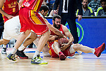 Real Madrid's player Felipe Reyes and UCAM Murcia's player Carlos Cabezas during the third match of the Liga Endesa Playoff at Barclaycard Center in Madrid. May 31. 2016. (ALTERPHOTOS/Borja B.Hojas)
