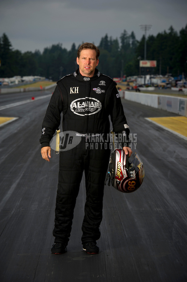 Aug. 7, 2011; Kent, WA, USA; NHRA top fuel dragster driver Del Worsham poses for a portrait during the Northwest Nationals at Pacific Raceways. Mandatory Credit: Mark J. Rebilas-