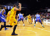 Action from the national basketball league match between Wellington Saints and Mountain Airs at TSB Bank Arena, Wellington, New Zealand on Friday, 6 May 2016. Photo: Dave Lintott / lintottphoto.co.nz