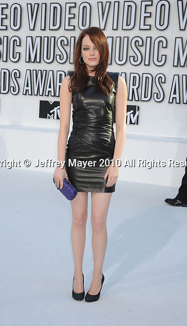 LOS ANGELES, CA. - September 12: Emma Stone arrives at the 2010 MTV Video Music Awards held at Nokia Theatre L.A. Live on September 12, 2010 in Los Angeles, California.