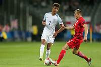 Mason Holgate of England and Pawel Jaroszynski of Poland during England Under-21 vs Poland Under-21, UEFA European Under-21 Championship Football at The Kolporter Arena on 22nd June 2017