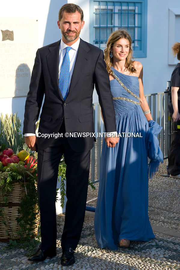 "Princess Letizia and Prince Felipe of Asturias_.The Wedding of Prince Nikolaos and Tatiana Blatnik attended by many members of European Royalty at St Nikolaos Church on the Island of Spetses_Grecce_24/08/2010.Mandatory Credit Photo: ©DIAS-NEWSPIX INTERNATIONAL..**ALL FEES PAYABLE TO: ""NEWSPIX INTERNATIONAL""**..IMMEDIATE CONFIRMATION OF USAGE REQUIRED:.Newspix International, 31 Chinnery Hill, Bishop's Stortford, ENGLAND CM23 3PS.Tel:+441279 324672  ; Fax: +441279656877.Mobile:  07775681153.e-mail: info@newspixinternational.co.uk"