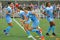 Piscataway, NJ - Saturday Aug. 27, 2016: Christen Press, Sofia Huerta, Stephanie McCaffrey, Casey Short prior to a regular season National Women's Soccer League (NWSL) match between Sky Blue FC and the Chicago Red Stars at Yurcak Field.