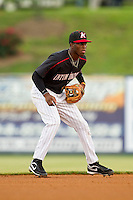 Kannapolis Intimidators shortstop Tim Anderson (2) on defense against the Greenville Drive at CMC-Northeast Stadium on June 29, 2013 in Kannapolis, North Carolina.  The Drive defeated the Intimidators 5-3.   (Brian Westerholt/Four Seam Images)