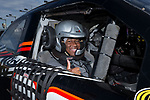 Trey Ndlovu of the Wake Forest Demon Deacons is ready for his ride in a NASCAR race car as part of the festivities for the 2017 Belk Bowl at the Charlotte Motor Speedway on December 26, 2017 in Concord, North Carolina.  (Brian Westerholt/Sports On Film)