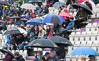 Umbrellas dominate as the rain forces play to be suspended during South Africa vs West Indies, ICC World Cup Cricket at the Hampshire Bowl on 10th June 2019
