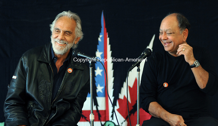 "TORRINGTON, CT-120 APRIL 2012--042012JS05-Tommy Chong and Cheech Marin introduce their new phone and tablet app ""The Fatty"" during a press conference Friday at the Nancy Marine Studio in  Torrington prior to their show ""Get it Legal"" at the Warner Theatre.. Jim Shannon Republican-American"