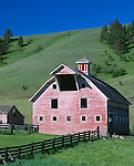 Wallowa County, OR   <br /> Weathered barn dated (1915) with gambrel roof stands in a green valley of the Zumwalt prairie