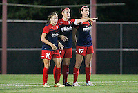 Piscataway, NJ - Saturday July 23, 2016: Estefania Banini, Christine Nairn, Cali Farquharson during a regular season National Women's Soccer League (NWSL) match between Sky Blue FC and the Washington Spirit at Yurcak Field.