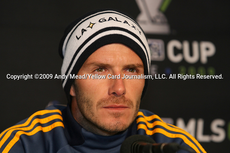 20 November 2009: David Beckham (ENG) during the press conference. The Los Angeles Galaxy held a training session and press conference at Qwest Field in Seattle, Washington in preparation for playing Real Salt Lake in Major League Soccer's championship game, MLS Cup 2009, two days later.