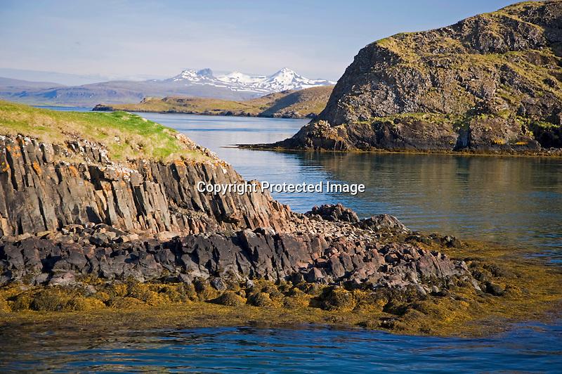 Rocky Islands Formed by Volcanic Action in Breidafjordur Fjord near Stykkisholmur in Iceland