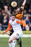 Jack Marriott of Luton Town (front) battles with Michael Nelson of Barnet (rear) during the Sky Bet League 2 match between Barnet and Luton Town at The Hive, London, England on 28 March 2016. Photo by David Horn.