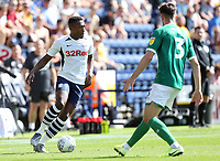 Preston North End's Darnell Fisher looks to take on Sheffield Wednesday's Morgan Fox<br /> <br /> Photographer Rich Linley/CameraSport<br /> <br /> The Premier League - Preston North End v Sheffield Wednesday - Saturday August 24th 2019 - Deepdale Stadium - Preston<br /> <br /> World Copyright © 2019 CameraSport. All rights reserved. 43 Linden Ave. Countesthorpe. Leicester. England. LE8 5PG - Tel: +44 (0) 116 277 4147 - admin@camerasport.com - www.camerasport.com