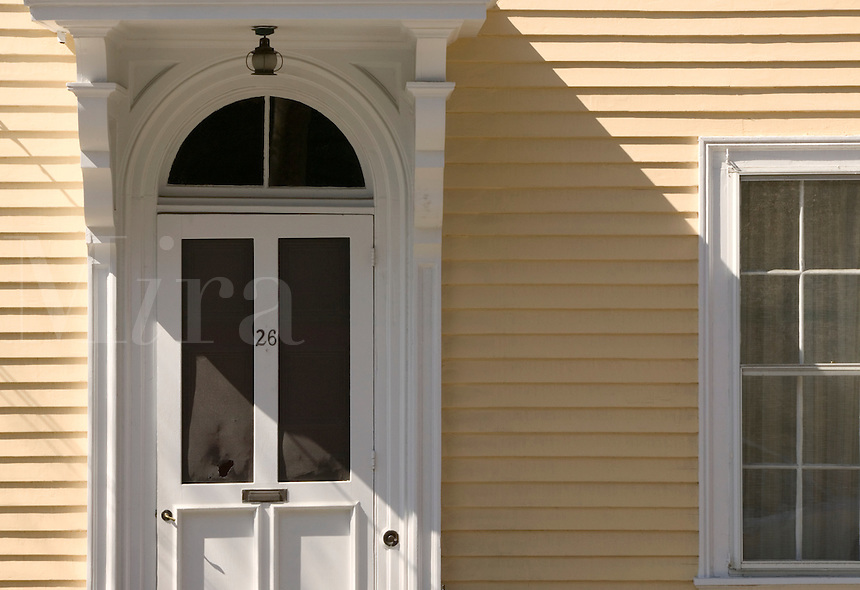 """Rhode Island: Providence: Sun on yellow house with plaque """"""""Angustine F. DeCosta House, built 1859-1860."""