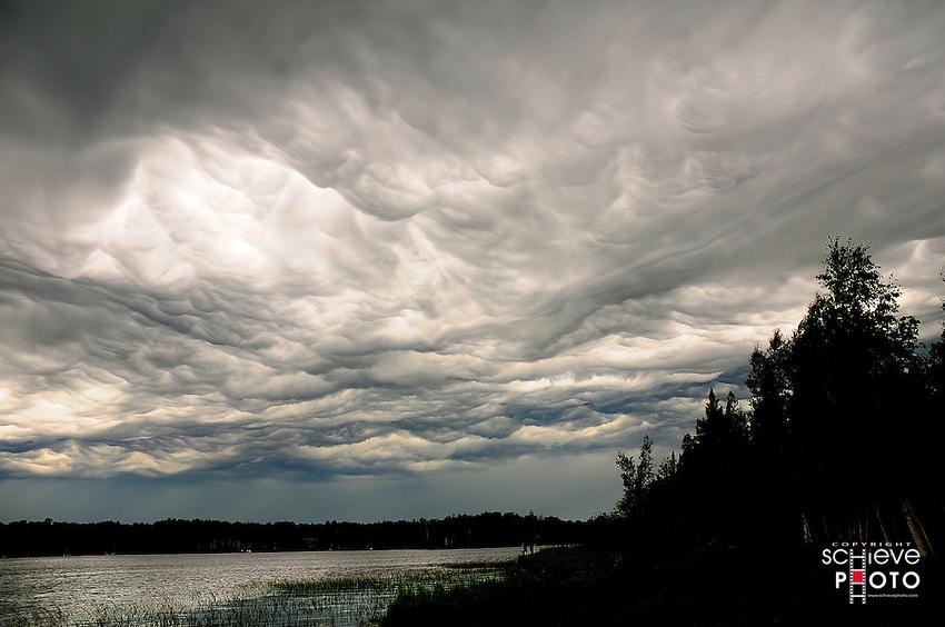 Unusual Undulatus Asperatus clouds form over Spider Lake in Northern Wisconsin.