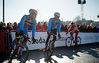 brothers Laurens & Diether Sweeck (BEL) warming up together just before the race start<br /> <br /> Men U23 race<br /> <br /> 2015 UCI World Championships Cyclocross <br /> Tabor, Czech Republic