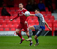 Lincoln City's Tom Hopper under pressure from Accrington Stanley's Mark Hughes<br /> <br /> Photographer Andrew Vaughan/CameraSport<br /> <br /> The EFL Sky Bet League One - Accrington Stanley v Lincoln City - Saturday 15th February 2020 - Crown Ground - Accrington<br /> <br /> World Copyright © 2020 CameraSport. All rights reserved. 43 Linden Ave. Countesthorpe. Leicester. England. LE8 5PG - Tel: +44 (0) 116 277 4147 - admin@camerasport.com - www.camerasport.com