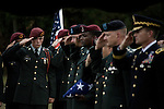 August 26, 2007. Kinston, NC.. A funeral for  Spc. Steven R. Jewell was held at the Pine Lawn Memorial Park in Kinston, NC. Spc. Jewell was killed in a helicopter crash near the Iraqi city of Fallujah on August 14, 2007.. The honor guard salutes the grave of Spc. Jewell.