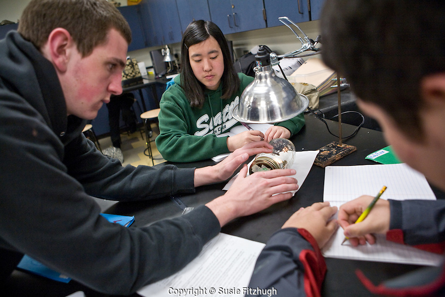 Dan Pickard's Ecology students work on a hands-on lab about the Greenhouse Effect.