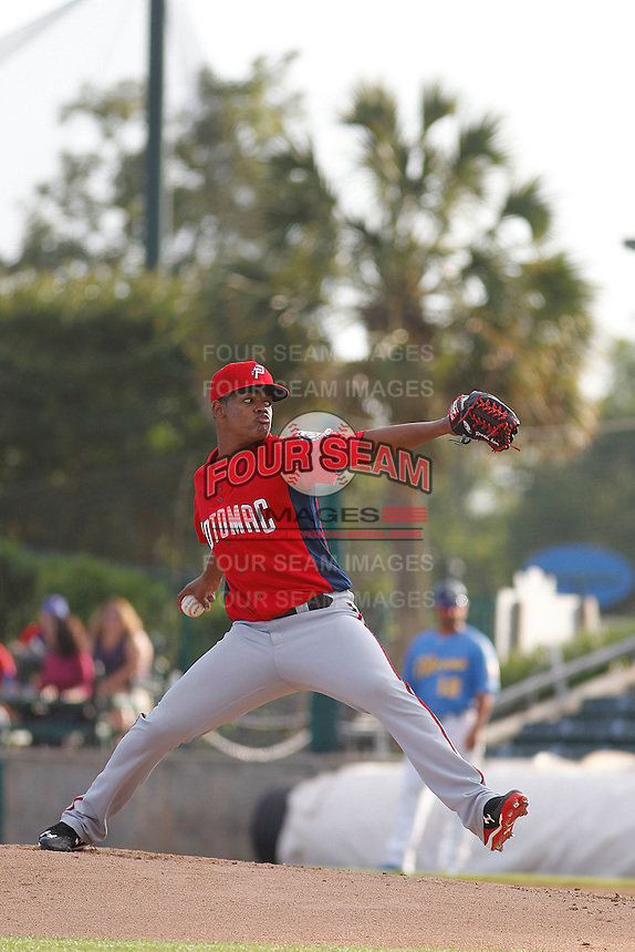 Potomac Nationals pitcher Reynaldo Lopez (14) in action during a game against the Myrtle Beach Pelicans at Ticketreturn.com Field at Pelicans Ballpark on May 22, 2015 in Myrtle Beach, South Carolina.  Myrtle Beach defeated Potomac 8-4. (Robert Gurganus/Four Seam Images)