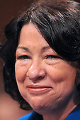 Washington, DC - July 13, 2009 -- Judge Sonia Sotomayor seems a little misty-eyed as she listens to a Senator's opening remarks as the United States Senate Judiciary Committee considers her nomination as Associate Justice of the U.S. Supreme Court on Monday, July 13, 2009..Credit: Ron Sachs / CNP