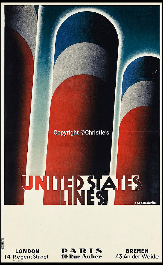 BNPS.co.uk (01202 558833)<br /> Pic: Christie's/BNPS<br /> <br /> A.M. Cassandre (1901-1968), UNITED STATE LINES, estimate: £9,000.<br /> <br /> A stunning collection of advertising posters seized by Nazi Josef Goebbels are tipped to sell for £200,000 after a 50 year fight to have them returned to the family of the Jewish owner.<br /> <br /> Dr Hans Sachs was a German-born Jewish dentist in Berlin when he was detained by the Gestapo and his collection of 12,500 lithograph prints were confiscated by the propaganda minister so they could be housed in a museum.<br /> <br /> His family discovered in 2005 that the collection had survived and managed to recover it. A hundred of the posters are now being sold by Christie's in London.