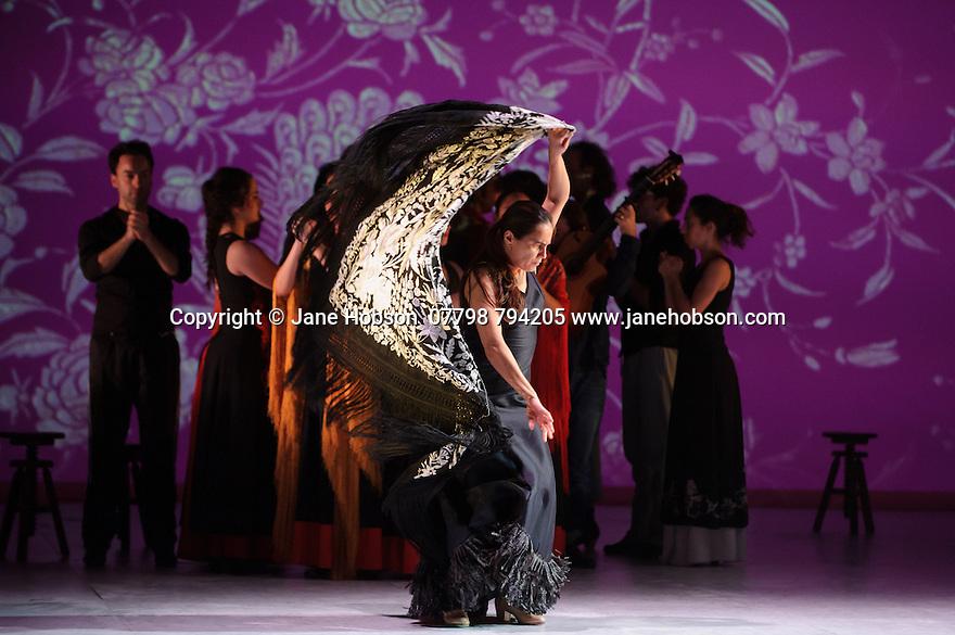 "London, UK. 20.02.2015. Ballet Flamenco de Andalucia rehearse the piece ""Las Cuatro Esquinas"", part of their production IMAGES: 20 YEARS, as part of the Flamenco Festival London 2015, at Sadler's Wells. The company is: Rafaela Carrasco (artistic Director), David Coria, Ana Morales, Hugo Lopez, Eduardo Leal, Antonio Lopez, Alberto Selles, Laura Santamaria, Alejandra Gudi, Florencia O'Ryan, Paula Comitre, Carmen Yanes. Photograph © Jane Hobson."