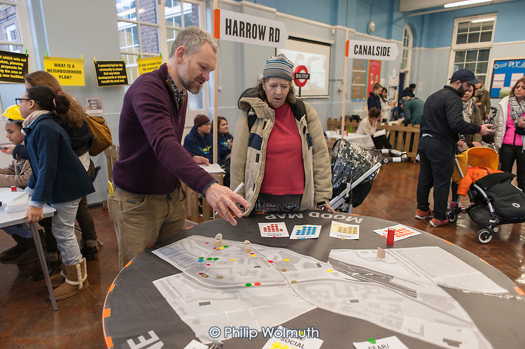 Westbourne Forum Neighbourhood Plan meeting and Winter Health Fair, Edward Wilson School, Paddington, London.