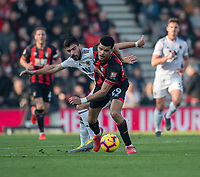 Wolverhampton Wanderers' Ruben Neves (left) battles with Bournemouth's Dominic Solanke (right) <br /> <br /> Photographer David Horton/CameraSport<br /> <br /> The Premier League - Bournemouth v Wolverhampton Wanderers - Saturday 23 February 2019 - Vitality Stadium - Bournemouth<br /> <br /> World Copyright © 2019 CameraSport. All rights reserved. 43 Linden Ave. Countesthorpe. Leicester. England. LE8 5PG - Tel: +44 (0) 116 277 4147 - admin@camerasport.com - www.camerasport.com
